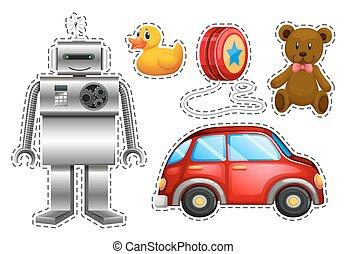 differente, tipi, giocattoli