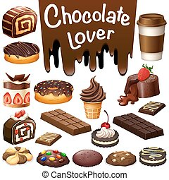 differente, tipo, di, dessert, cioccolato, aroma