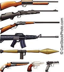 differente, tipo, di, fireguns