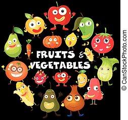 differente, tipo, di, frutta verdure