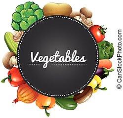 differente, tipo, di, organico, verdura