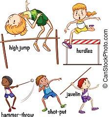 differente, tipo, di, sport