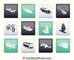 differente, tipo, di, trasporto, e, icone corsa, sopra, sfondo colore