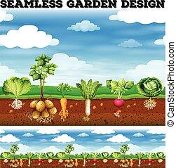 differente, tipo, di, verdura, giardino