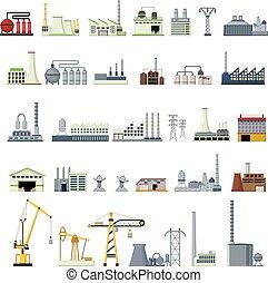 differente, tipo, factorys