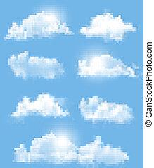 differente, trasparente, set, vector., clouds.