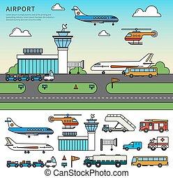 differente, trasporto, aeroporto, tipi