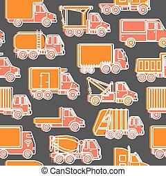 differente, trasporto, camion, modello, stile, seamless, linea, tipi