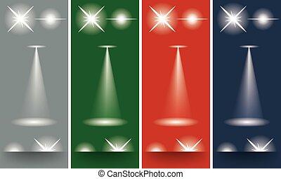 differente, trave, effetto leggero, fondo., scoppi, stelle, scintille, splendore