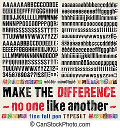 differente, type., molti, feltro, soluzione, composto, penna...