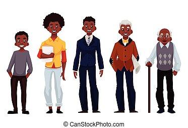 differente, uomini, età, gioventù, maturità, nero