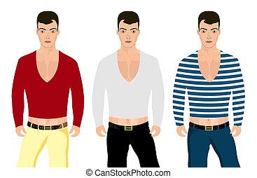 differente, uomo, colore, giacche, pantaloni