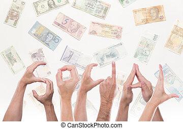 differente, valute, parola, sociale