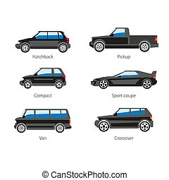 differente, veicoli, tipi