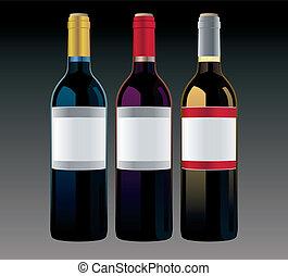 differente, vettore, bottiglie, fondo