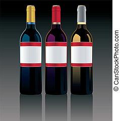 differente, vettore, bottiglie