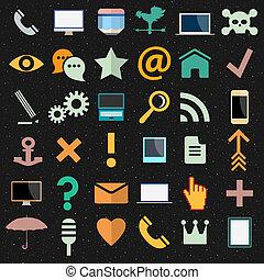 differente, vettore, collezione, icone