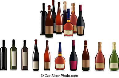 differente, vettore, set, bottles.