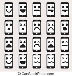 differente, vettore, set, emoticons