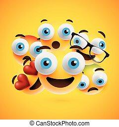 differente, vettore, smileys, illustrazione, fondo, giallo