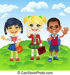 differente, vettore, sorridente, nazionalità, schoolchildren