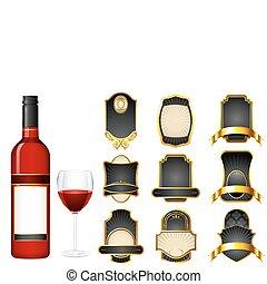 differente, vuoto, bottiglia vino, etichetta