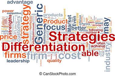 differentiation, stratégies, concept, fond