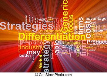 differentiation, stratégies, incandescent, concept, fond