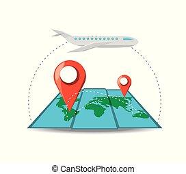 differents, transportflugzeug, stellen, landkarte
