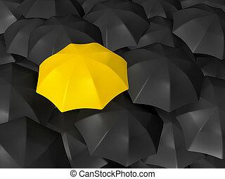 differenza, ombrello, giallo