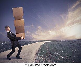 difficile, carriera, di, uno, uomo affari