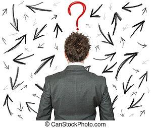 difficile, scelte, di, uno, uomo affari