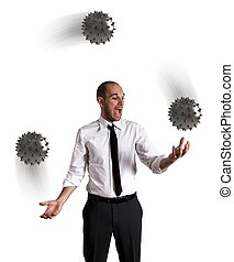 Concept of difficult business with a juggler businessman