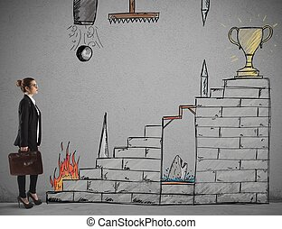 Difficult career - Businesswoman in front of staircase with ...
