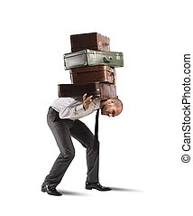 Difficult career of a businessman - Concept of difficult...