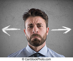 Difficult choices of a businessman. concept of confusion