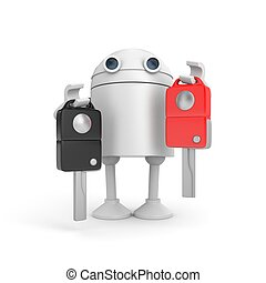 Difficult choise. Robot sell or buy car. 3d illustration