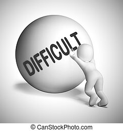 Difficult concept icon means back breaking work or uphill ...
