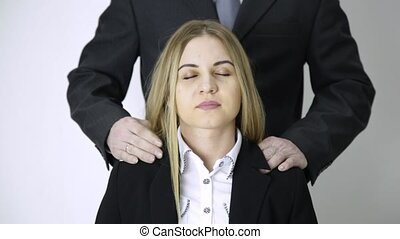 difficult day in office. businessman massaging him secretary...