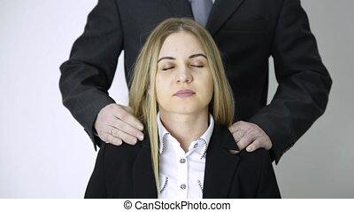 difficult day in office. businessman massaging him secretary...