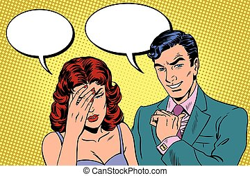 Difficult dialogue a headache pop art retro vector. Man and ...
