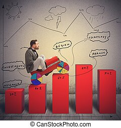 Difficult economic landscape - Businessman driving uphill in...