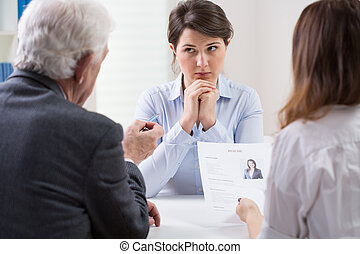 Difficult job interview - Woman during difficult job ...