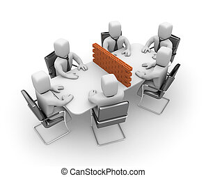 Difficult negotiations - Business concept. Isolated on white