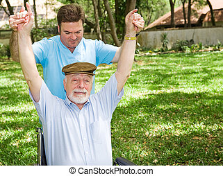 Difficult Physical Therapy - Senior man with arthritis is ...