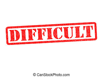 DIFFICULT Rubber Stamp over a white background.