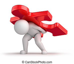 difficult solution, 3d human and a big red puzzle piece. 3d ...