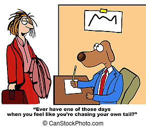 Business cartoon about a tough day at work.