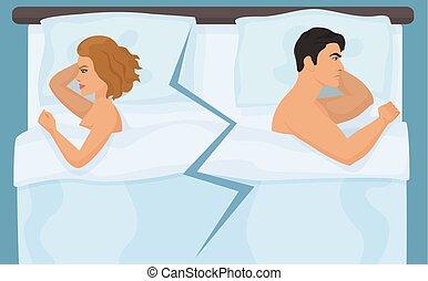difficulties., infeliz, gente, bed., conflicto, o, enojado, pelea, sexual, relación, teniendo, pareja, joven