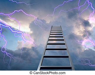 Difficulties on the way up - Lightning flasshes with ladder...
